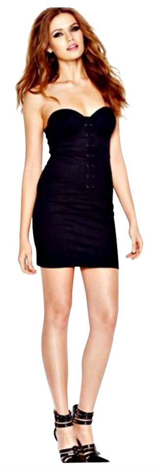 Guess Black Sleeveless Lace Up Faux Suede Corset Mini Short Cocktail Dress Size 6 (S) 56% off retail