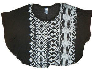 M Fasis by California Blue Boho Hippie Batwing Top Black Gray