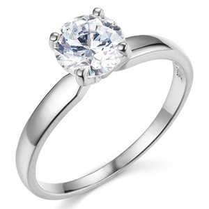 14k White Gold Round-cut 4-prong Solitaire Man Made Diamond Engagement Ring Sizes 4 5 6 7 8 9 10