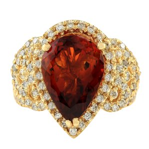 Fashion Strada 8.20CTW Natural Madeira Citrine Diamond Ring In 14K Yellow Gold