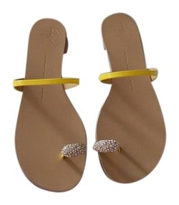 Giuseppe Zanotti Elegant Design Swarovski Crystals Made In Italy Yellow Sandals