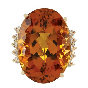 Fashion Strada 32.41CTW Natural Citrine And Diamond Ring In 14K Solid Yellow Gold