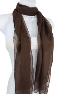 Other Women Dark Brown Neck Scarf Soft Sheer Fabric Tie Wrap Classic Long