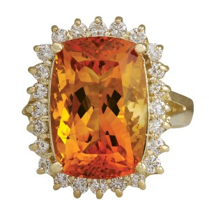 Fashion Strada 8.87CTW Natural Citrine And Diamond Ring 14K Solid Yellow Gold