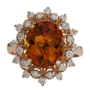Fashion Strada 4.85CTW Natural Madeira Citrine And Diamond Ring 14K Rose Gold
