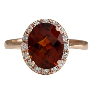 Fashion Strada 2.82CTW Natural Citrine And Diamond Ring 14K Solid Rose Gold