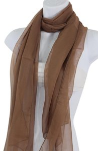 Women Light Brown Neck Scarf Soft Sheer Fabric Tie Wrap Classic Long
