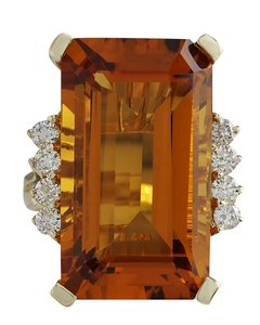 Fashion Strada 19.30CTW Natural Madeira Citrine Diamond Ring 14K Yellow Gold