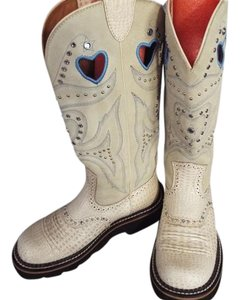Ariat Beige and Blue Boots