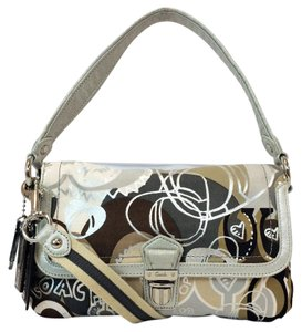 Coach Limited Silver Convertible Graffiti Flap Cross Body Bag