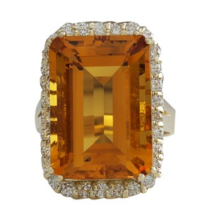 Fashion Strada 16.61CTW Natural Citrine And Diamond Ring 14K Solid Yellow Gold