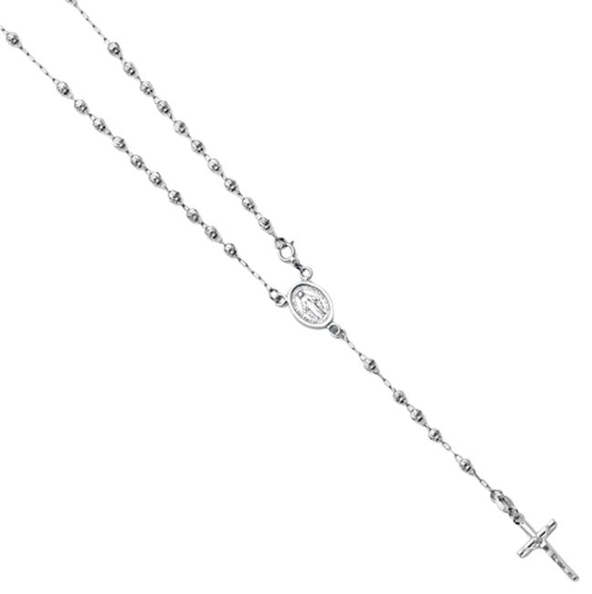 White Gold 14k 3mm Bead Our Lady Guadalupe Rosary 18inches Necklace White Gold 14k 3mm Bead Our Lady Guadalupe Rosary 18inches Necklace Image 1