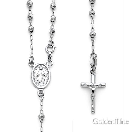 Other 14K White Gold 3mm Bead Our Lady Guadalupe Rosary Necklace 18inches