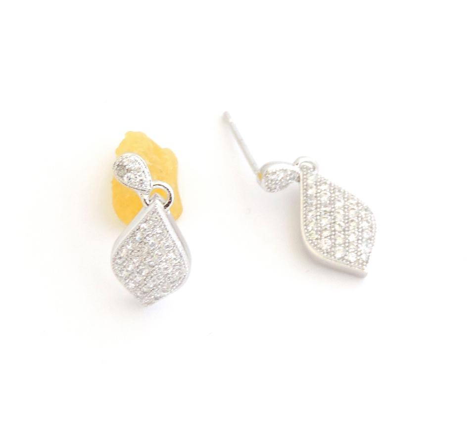 Other Rhodium Silver Tear Drop Micro Pave Cubic Zirconia Earrings