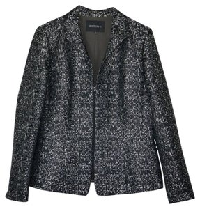 Lafayette 148 New York Classic Zip Front Lined Black and Grey Multi Blazer