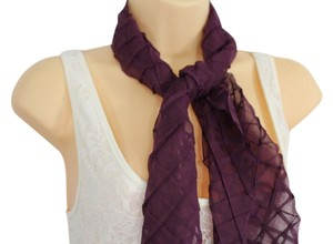 Fancy Long Purple Neck Scarf Soft Fabric Geometric Mosaic Plaid