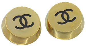 Chanel Chanel CC Classic Logo Yellow Gold Plated Large Clip On Earrings
