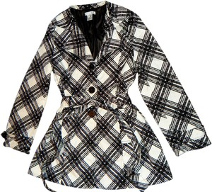 Luii Trench Coat Buttons Fancy Dress Black & White Jacket