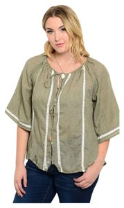 Other Plus Size Linen Curvy Lace Crochet Top Olive