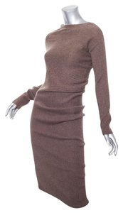 Brunello Cucinelli short dress Brown Cashmere Asymmetrical Ruched Sweater on Tradesy
