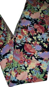 LuLaRoe Lularoe floral Black blue Background Pink Fern Flowers One size leggings Leggings