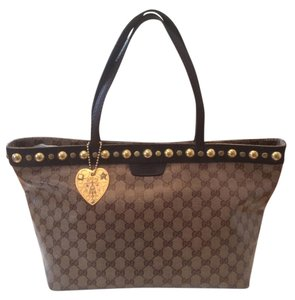 Gucci Studded Monogram Tote in Brown