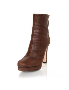 Miu Miu Ankle Leather Zipper Boots