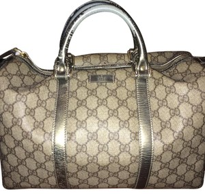 Gucci Crystal Coated Monogram Boston Satchel in Gray/Silver