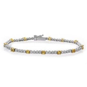 Avital & Co Jewelry 4.15ct Round Cut And Yellow Sapphire Diamond Tennis Bracelet 18k WG
