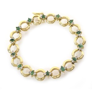 Avital & Co Jewelry 0.50ct Diamond And 1.50 Carat Emerald 14k Yellow Gold Link Bracelet