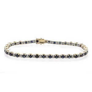 Avital & Co Jewelry 0.35ct Diamond and 3.50ct Sapphire 14K Two Tone Gold Tennis Bracelet
