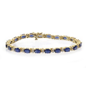 Avital & Co Jewelry 0.40 Carat Diamond And Carat Sapphire 14k Yellow Gold Tennis Bracelet