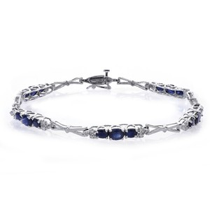 Avital & Co Jewelry 3.25ct Sapphire And 0.10 Carat Dimond Accent 10k WG Link Bracelet