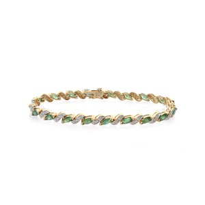 Avital & Co Jewelry Carat Emerald And Diamond Accent So Link 14k Yellow Gold Bracelet