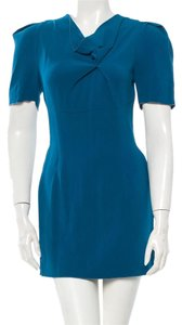 Roland Mouret short dress Blue Mini Crepe Micro-mini Pleated on Tradesy