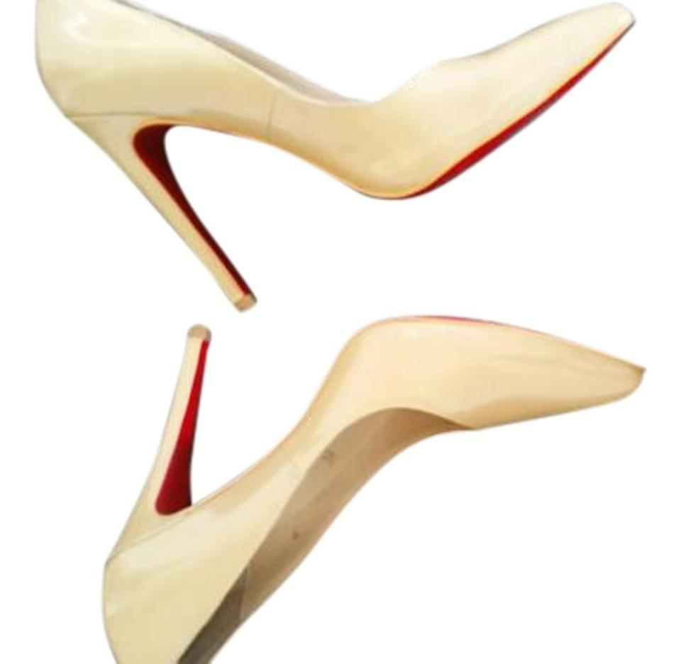 Christian Louboutin Patent Beige Simple Nude Patent Louboutin Leather Heels Pumps 982831