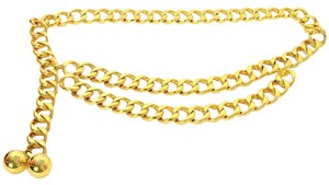 Chanel Authentic Chanel Vintage 60s Double ball Gold Chain Link Belt