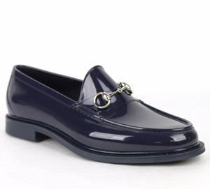 Gucci New Gucci Men's Rubber Loafer Shoes W/horsebit Detail Dark Blue Gucci 12/ Us 12.5 274962 4009