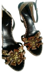 Moschino Leather Studded Strappy Wedge Brown Wedges