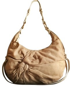 Fendi Canvas Gold Hardware Leather Hobo Bag