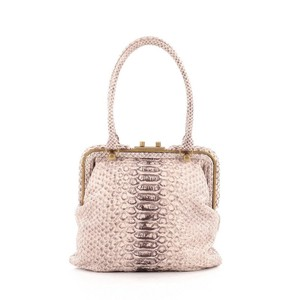 Bottega Veneta Python Satchel in Beige