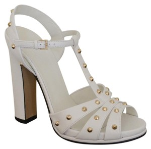 Gucci Leather Crystal White Sandals