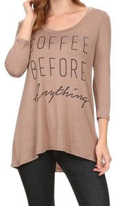 BLVD Fashion Womens Tops Coffee Top