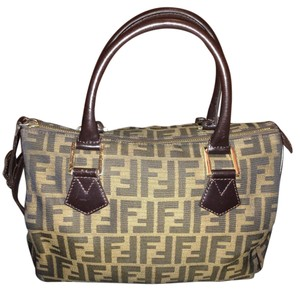 Fendi Monogram Boston Zucca Satchel in Brown