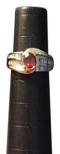 14kt white & yellow gold diamond and red spinel ring