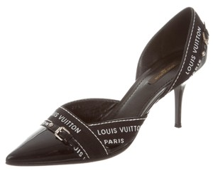 Louis Vuitton Patent Leather Monogram Embroidered Pointed Toe Silver Hardware Black, White Pumps