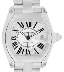Cartier Cartier Roadster Mens Silver Dial Steel Watch W62025V3 Box Papers