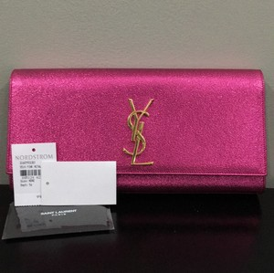 Saint Laurent Ysl Metallic Pink Clutch