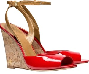 Tory Burch Leather Red Wedges
