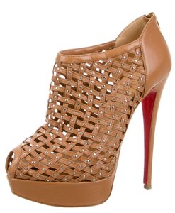 Christian Louboutin Studded Peep Toe Cage Brown, Silver Boots